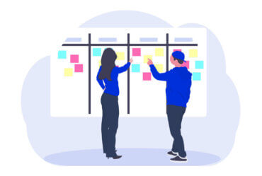 digital illustration of two people at a design thinking workshop meeting