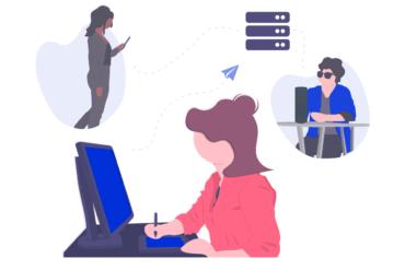 digital illustration of designer working